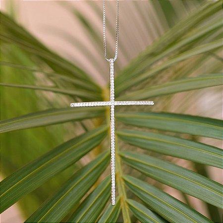 Colar crucifixo zircônia ródio semijoia 39262527