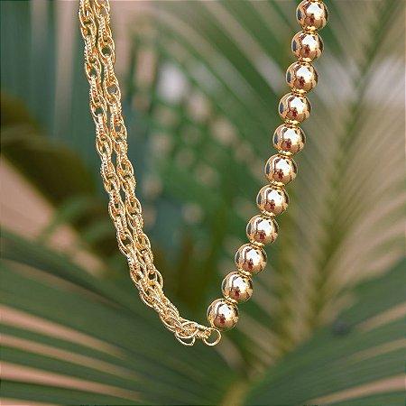 Colar esferas com correntes ouro semijoia