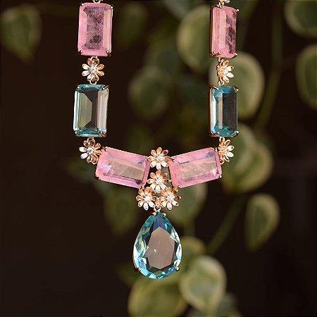 Colar gravatinha cristais rosa e verde água zircônia ouro rosê semijoia