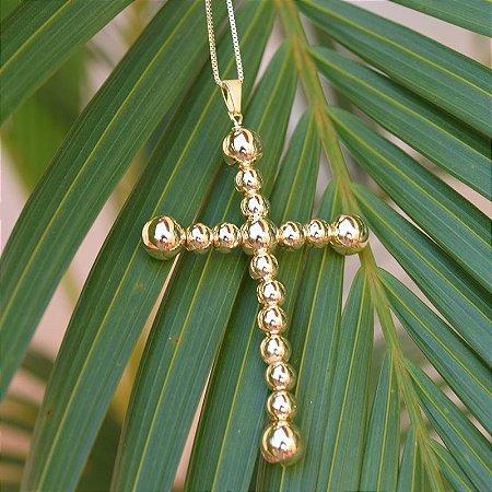 Colar crucifixo esferas ouro semijoia