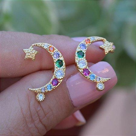 Brinco lua e estrela zircônias coloridas ouro semijoia