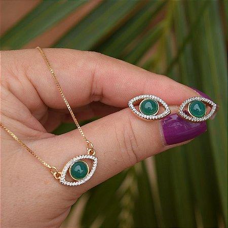 Colar e brinco olho grego com pedra natural ágata verde zircônia ouro semijoia
