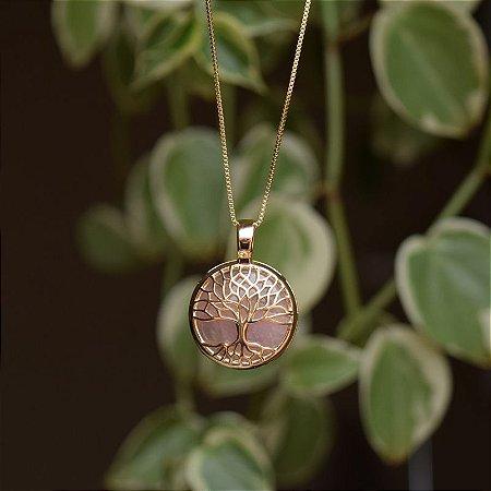 Colar árvore da vida p pedra natural quartzo rosa ouro semijoia