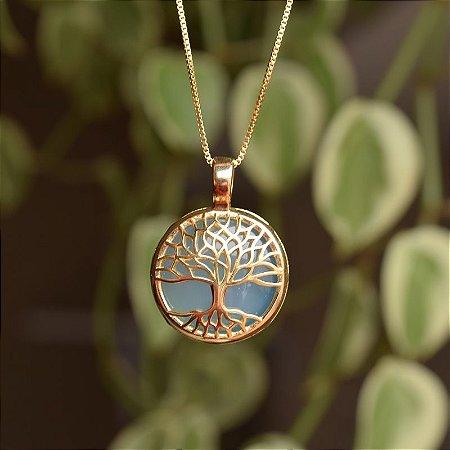 Colar árvore da vida p pedra natural ágata azul céu ouro semijoia