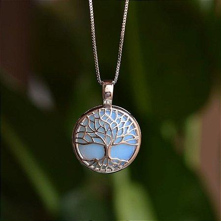 Colar árvore da vida p pedra natural opalina ródio semijoia