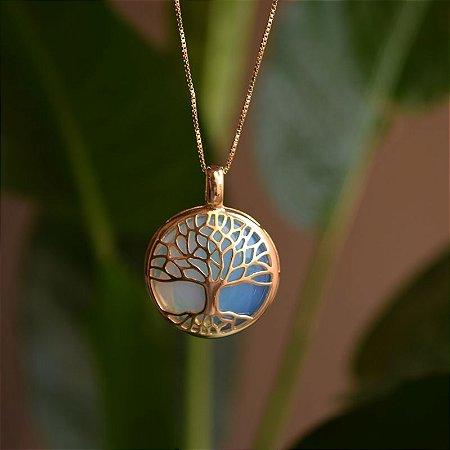 Colar árvore da vida g pedra natural opalina ouro semijoia