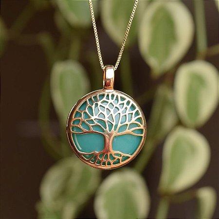 Colar árvore da vida g pedra natural ágata verde ouro semijoia