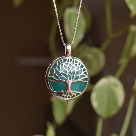 Colar árvore da vida g pedra natural ágata verde ródio semijoia
