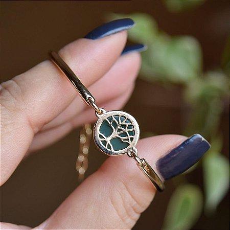 Pulseira árvore da vida com pedra natural ágata verde ouro semijoia