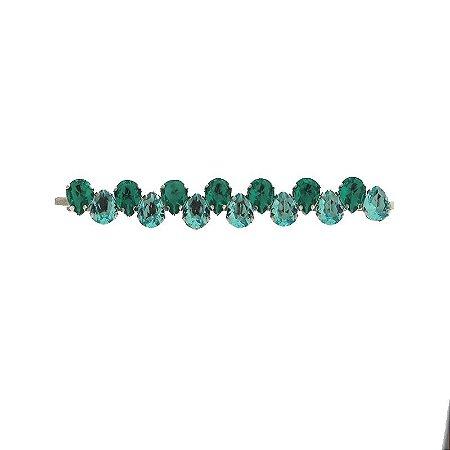 Grampo metal prateado cristal gota azul e verde