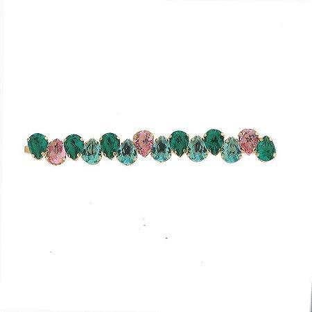 Grampo metal dourado cristal gota azul verde e rosa