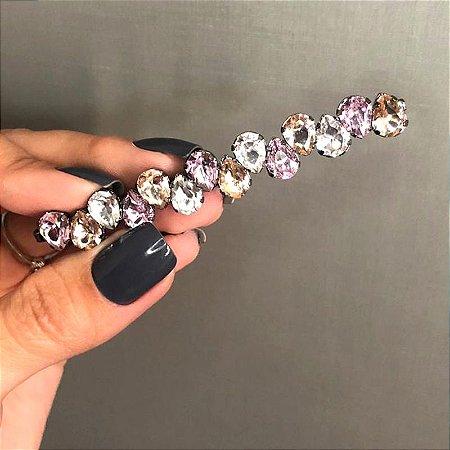 Grampo metal grafite cristal gota cristal rosa e topázio