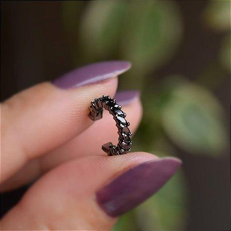 Piercing de encaixe zircônia preto ródio negro semijoia