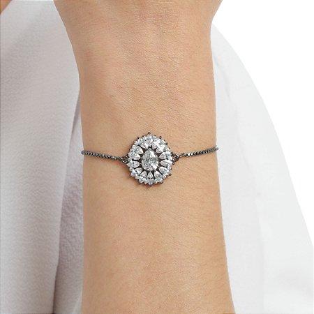 Pulseira gravata zircônia cristal gota ródio negro semijoia ref 1114