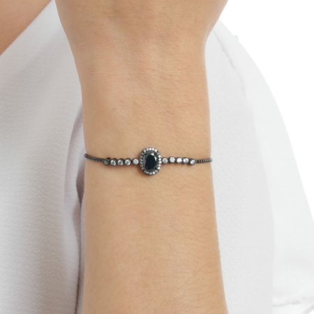 Pulseira gravata zircônia oval black ródio negro semijoia ref 0146