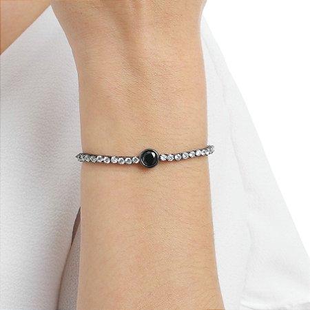 Pulseira gravata zircônia black cristal ródio negro semijoia ref 1252