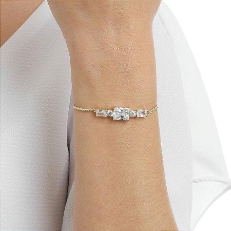 Pulseira gravata zircônia cristal ouro semijoia ref 1367