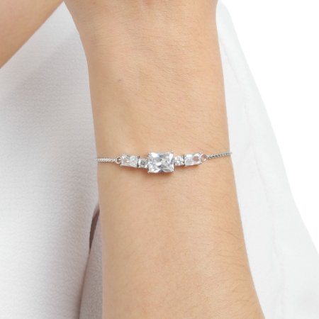 Pulseira gravata zircônia cristal ródio semijoia ref 1367