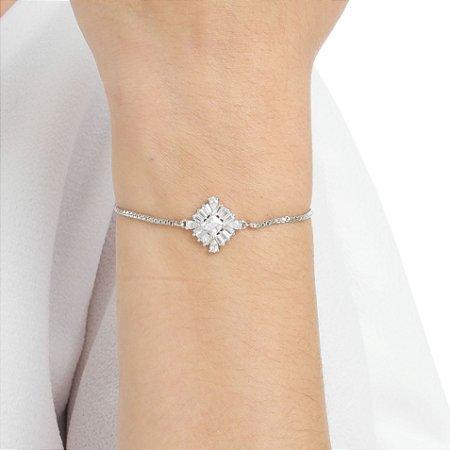 Pulseira gravata losango zircônia cristal ródio semijoia ref 1258