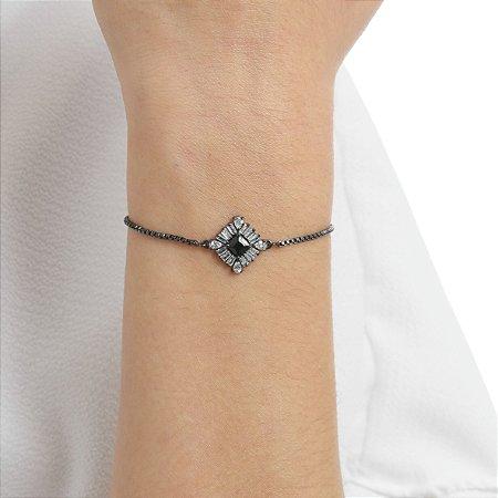 Pulseira gravata losango zircônia black cristal ródio negro semijoia ref 1258