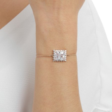 Pulseira gravata zircônia cristal retangular ouro rosê semijoia ref 1190