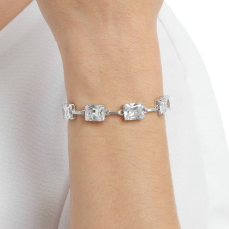 Pulseira gravata zircônia cristal retangular ródio semijoia ref 1357