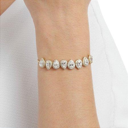 Pulseira gravata zircônia cristal gota ouro semijoia ref 0910