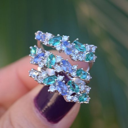 Anel cristal verde e lilás zircônia ródio semijoia