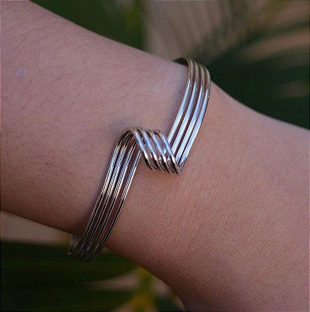 Bracelete 4 fios ródio semijoia