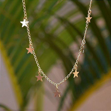 Choker estrela ouro semijoia