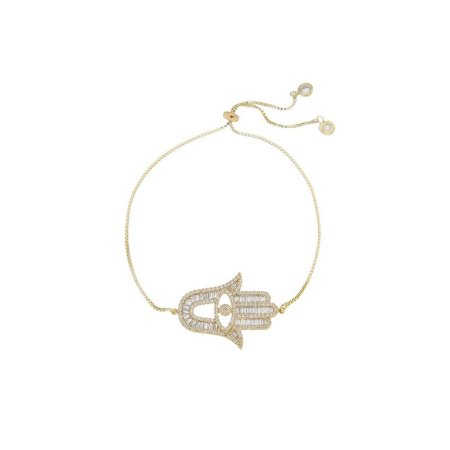 Pulseira gravata Mão de Fátima zircônia cristal ouro semijoia