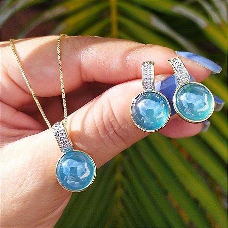 Colar e brinco redondo pedra natural ágata azul céu  perolada semijoia