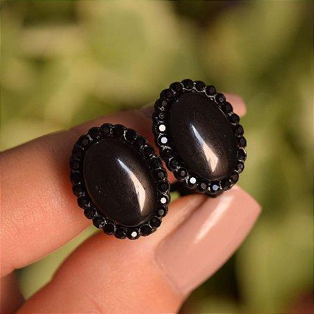 Brinco pressão oval strass preto
