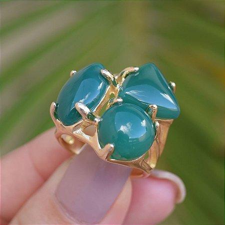 Anel 3 pedras naturais ágata verde ouro semijoia