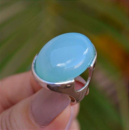 Anel oval pedra natural ágata azul céu ródio semijoia