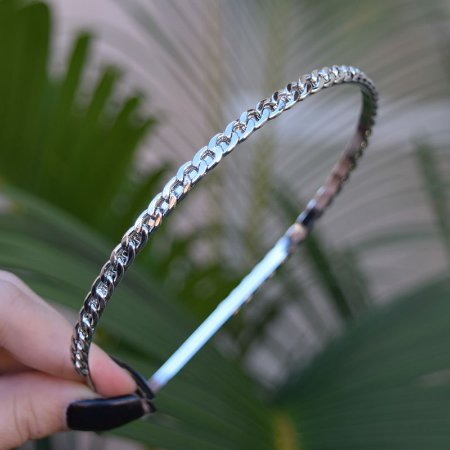 Tiara metal corrente prateado