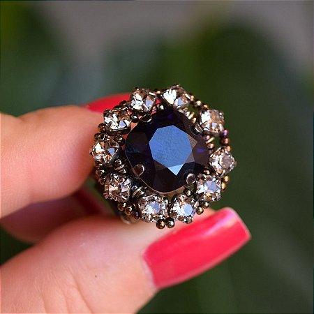 Anel Caleidoscópio joia artesanal cristal azul e fumê