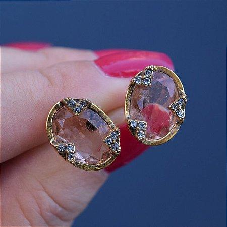 Brinco oval Claudia Arbex cristal ouro semijoia