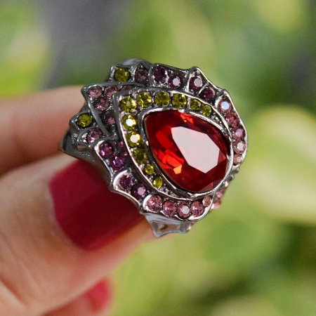 Anel Claudia Arbex cristais coloridos semijoia