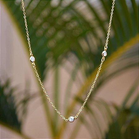 Colar corrente Tiffany cristal ouro semijoia
