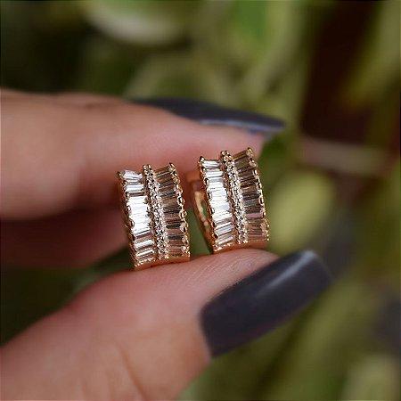 Brinco argolinha zircônia cristal ouro semijoia 19K07013