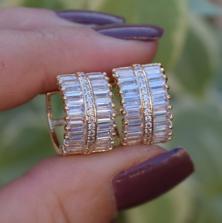 Brinco argolinha zircônia cristal ouro semijoia 10A03082