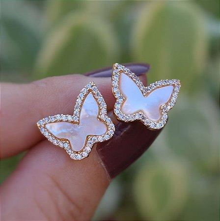 Brinco borboleta madrepérola zircônia cristal ouro semijoia