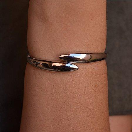Bracelete liso ródio semijoia