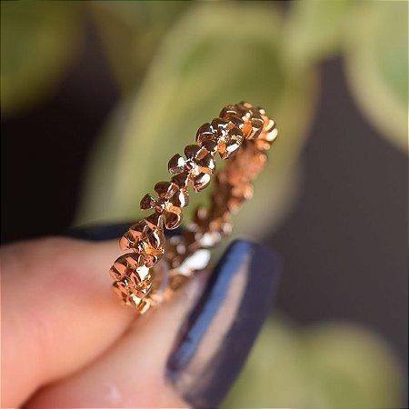 Anel flores ouro semijoia