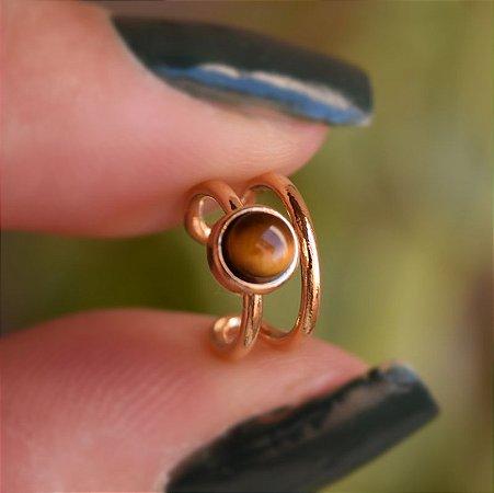 Piercing de encaixe individual pedra natural olho de tigre ouro semijoia