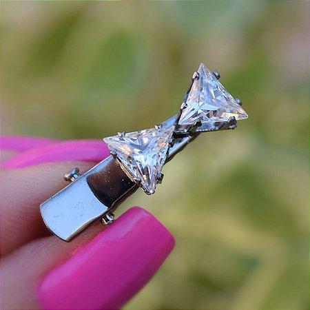 Presilha bico de pato metal grafite com cristais 549966