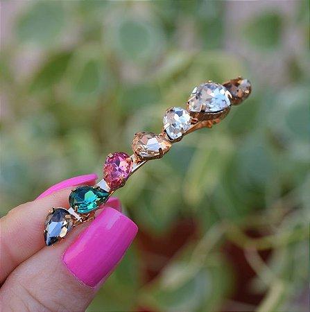 Presilha cristais coloridos dourado