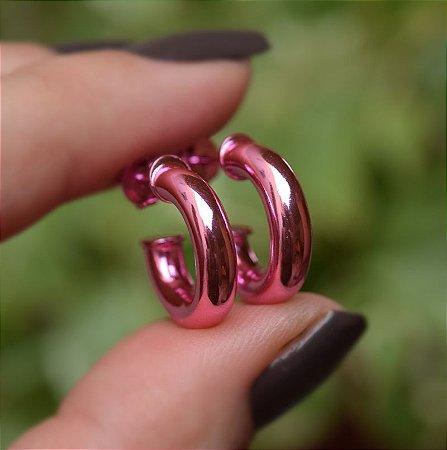 Brinco argola tubo p rosa