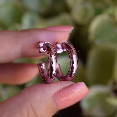 Brinco argola metalizado tubo m lilás